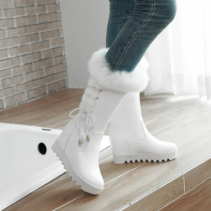 Ladies Fur Lined Wedge Heels Lace Up Pull On Mid Calf Boots Winter Casual shoes