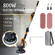 Electric Drywall Sander W Extendable Handle Vacuum Led Lights 12pc Sandpaper