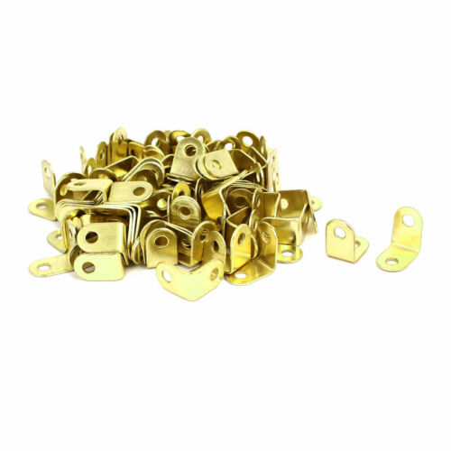 16mmx10.5mmx16mm L Shape Metal Angle Brackets Corner Braces Gold Tone 100pcs