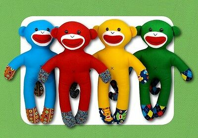 "New Stuffed Animal Doll Pattern SHELBY THE /""NO SOCK/"" SOCK MONKEY  15.5 inch"