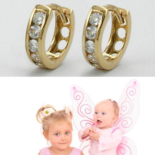 1 Paar Mädchen Scharnier Creolen Kinder Ohrringe mit Zirkonia Echt Gold 333 8Kt