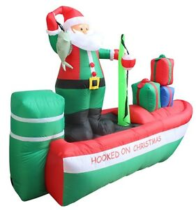 Details About Christmas Air Blown Inflatable Yard Decoration Santa Claus Fishing Boat Gift Box