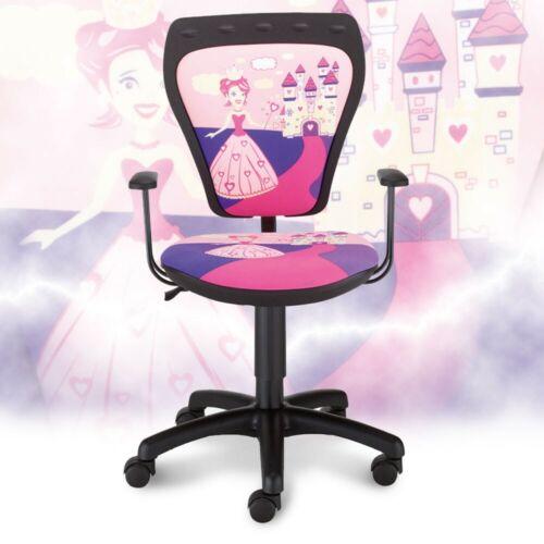 Design Drehstuhl Armlehnen Arbeits Zimmer Drehsitz Hocker Prinzessin Motiv pink