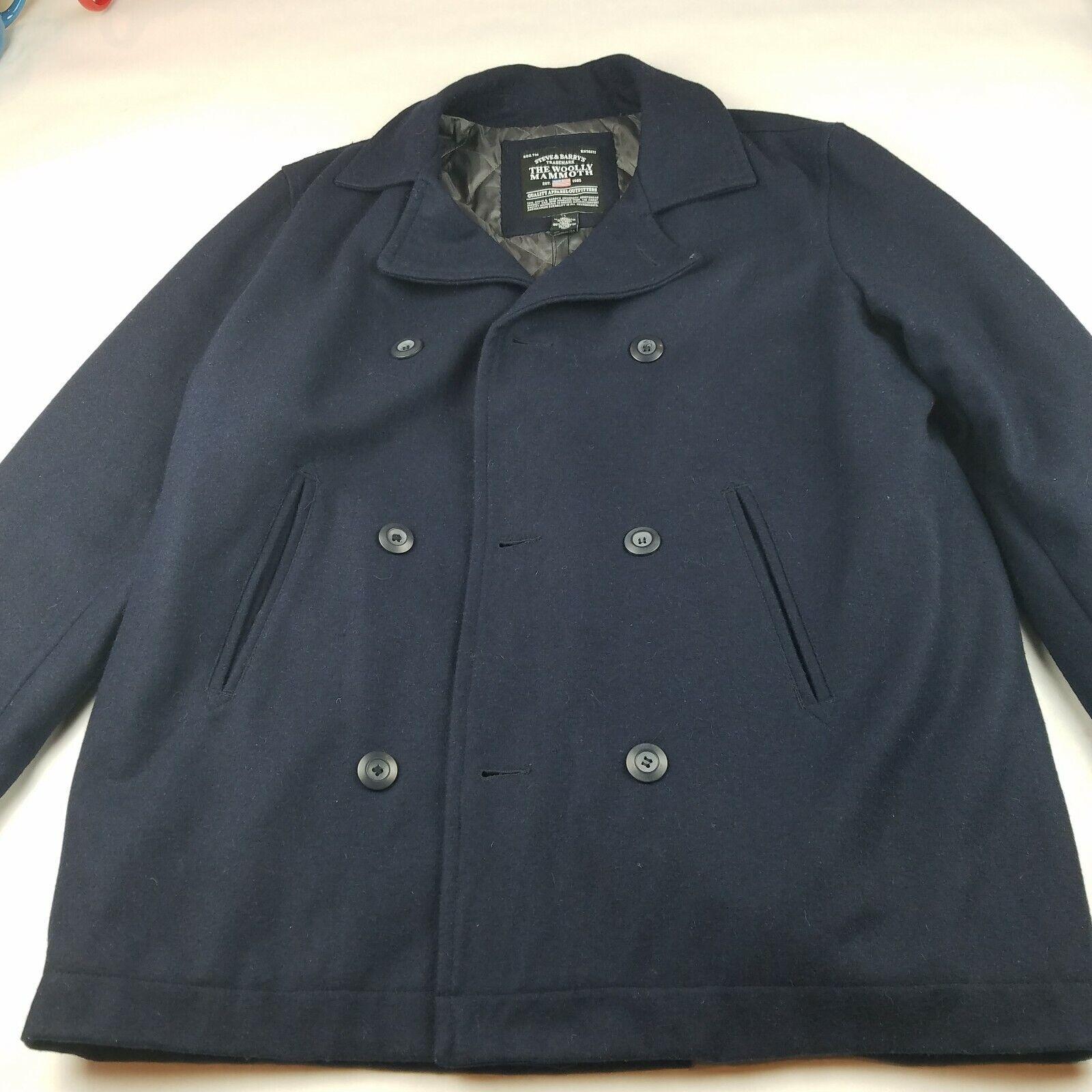 Para hombre Steve  & Barry& 039;s el lanudo mamut Doble Abotonadura PEA Coat Azul Marino Talla L  compra limitada