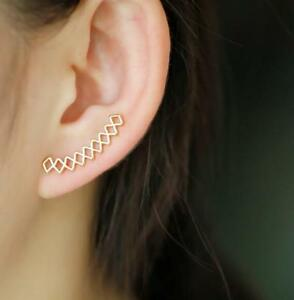 Image Is Loading 1 Pair Geometric Earrings Fashion Crawler Ear Studs