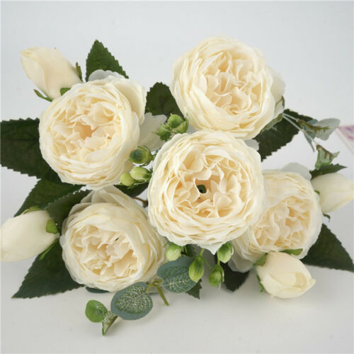 Artificial Silk Fake Peony Bouquet With 5 Flowers and 4 Buds DIY Home White