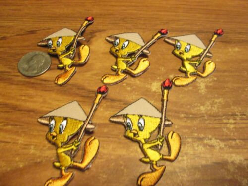 LOT OF 5 TWEETY BIRD PATCHES EMBROIDERED IRON ON 2 INCHES TALL SWEET LOOKING
