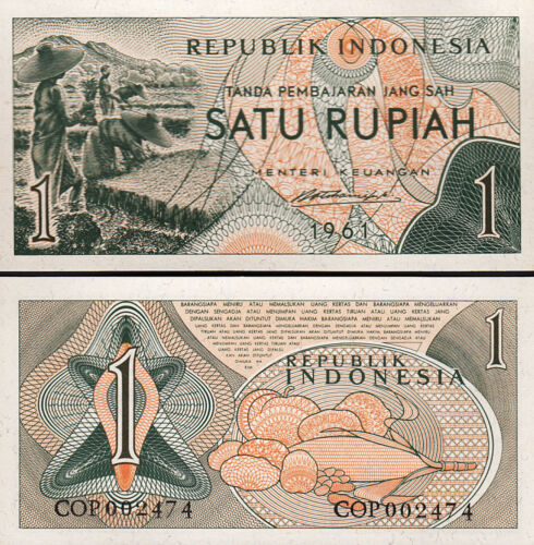 INDONESIA 1 RUPIAH 1961 UNC CONSECUTIVE 5 PCS LOT P-78 LOW SERIAL COP 002***