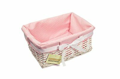 1 X Woodluv Rettangolare Salice Bianco In Vimini Ostacolare Cestello Di Stoccaggio-con Pink Dot-