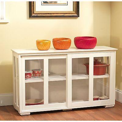 China Cabinet Storage Kitchen Buffet Hutch Glass Cupboard, White  753248019630   eBay