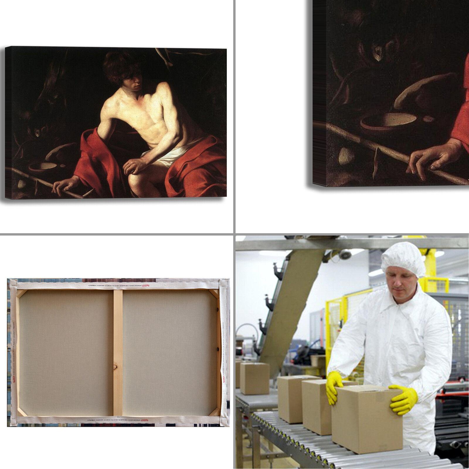 Caravaggio san 4 Giovanni Battista 4 san quadro stampa tela dipinto telaio arRouge o casa fc9f4d