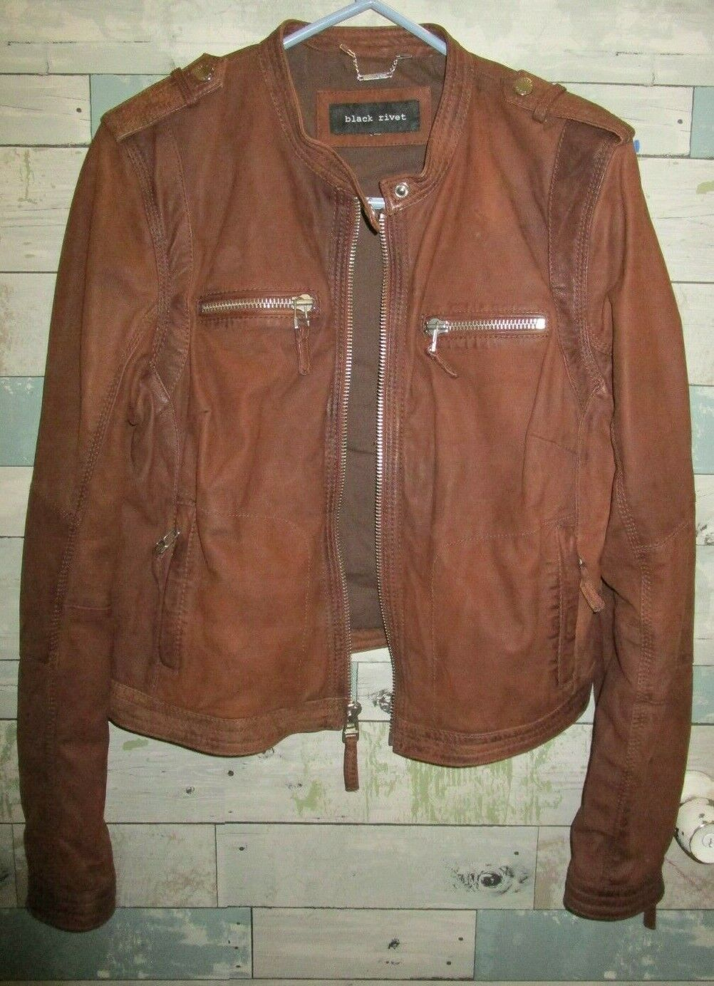 black rivet women amazing distressed look leather jacket size L brown SAVE HUGE