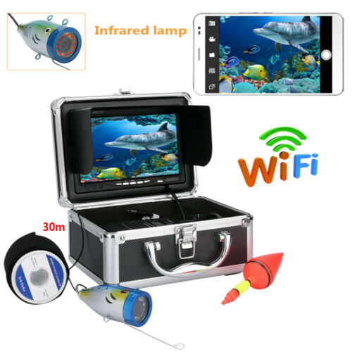 """7/"""" 30M 1000TVL Underwater Fishing Video Camera Wifi Wireless For IOS Android APP"""
