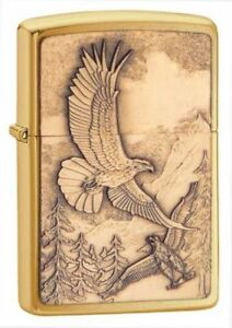 Zippo-Lighter-Unisex-Where-Eagles-Dare-Polished-Brass-Lighter-Windproof-New