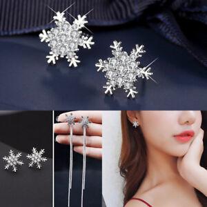 925-Silver-Stud-Earrings-Snowflake-Crystal-Rhinestone-Christmas-Party-Jewelry