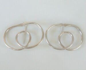 Vintage-Modernist-Handmade-Artist-Signed-Sterling-Silver-925-Earrings