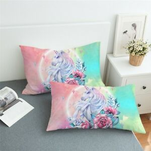 Pillowcases-Set-Of-2-Floral-Unicorn-And-Roses-Bedding-Pillow-Cover-King-amp-Queen