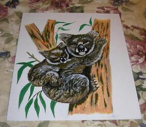 FOLK ART KOALA BEAR BEARS NATURE MOTHER CUB TREE CUDDLE NAIVE PRIMITIVE PAINTING