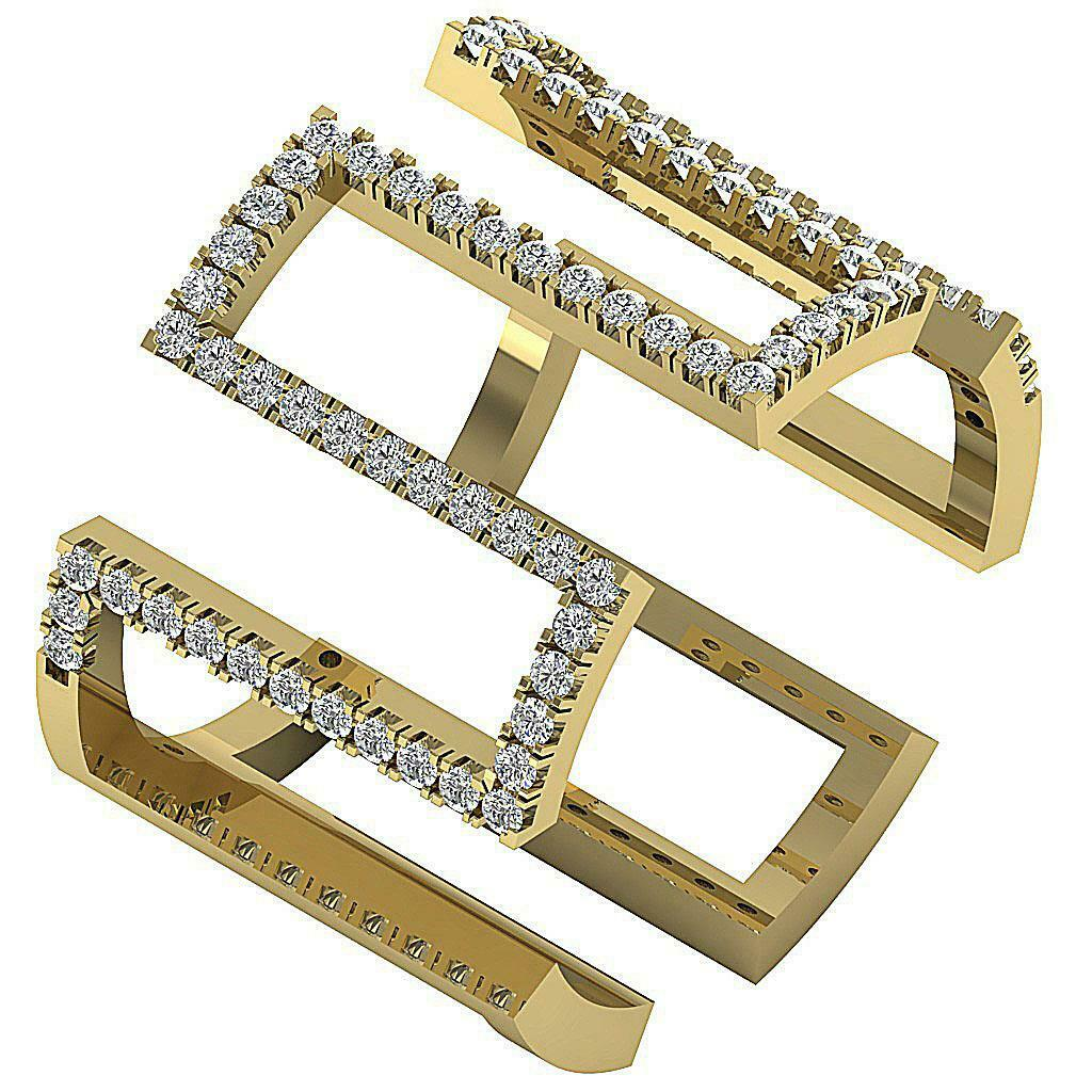 SI1 G 0.75 Ct Natural Diamond Designer Anniversary Ring 14K Solid gold Prong Set