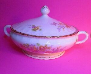 Vintage-Pope-Gosser-China-Covered-Tureen-Vegetable-Dish-Lidded-w-gold-Rare