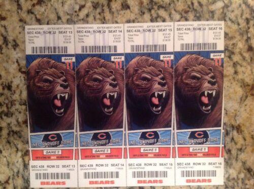 1 Unused Chicago Bears V.S Philadelphia Eagles Jan.6,2019 Playoff Ticket Stub.