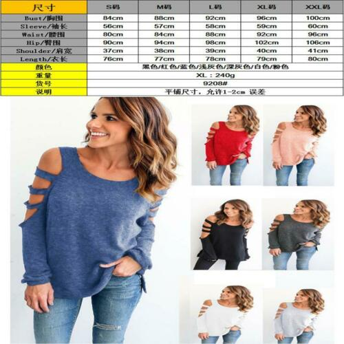 Womens Hollow Out Cold Shoulder Long Sleeve T Shirt Tops Blouse Loose LA