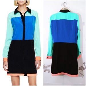 I-Love-Ronson-Large-Color-Block-Shirt-Dress-Long-Sleeve-H-54