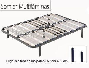 Somier Somieres multiláminas con regulador lumbares+patas cilindricas,tubo 40x30