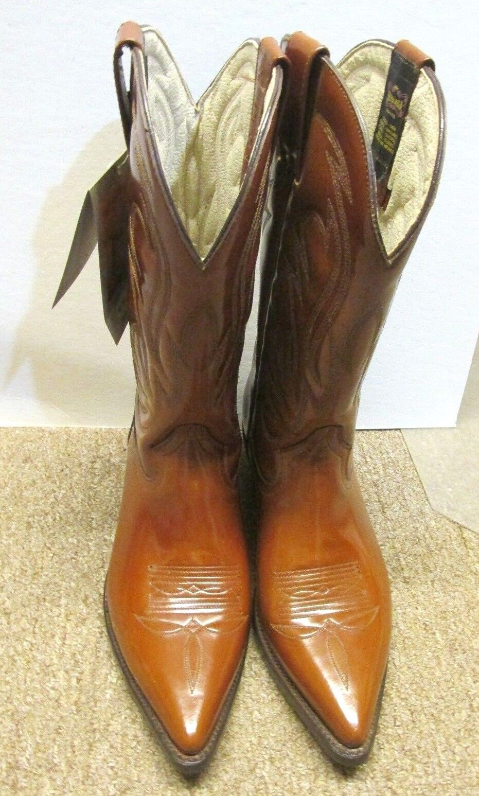 REYNAGA WESTERN LEATHER SOLES BOOT POINTY TOE BROWN VERY NICE SIZE 6.5 (26)WOMEN