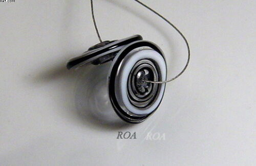 ROA Lampwork 2 Filigree Black /& White 3 x 16 mm USA Disc Art Glass Beads SRA