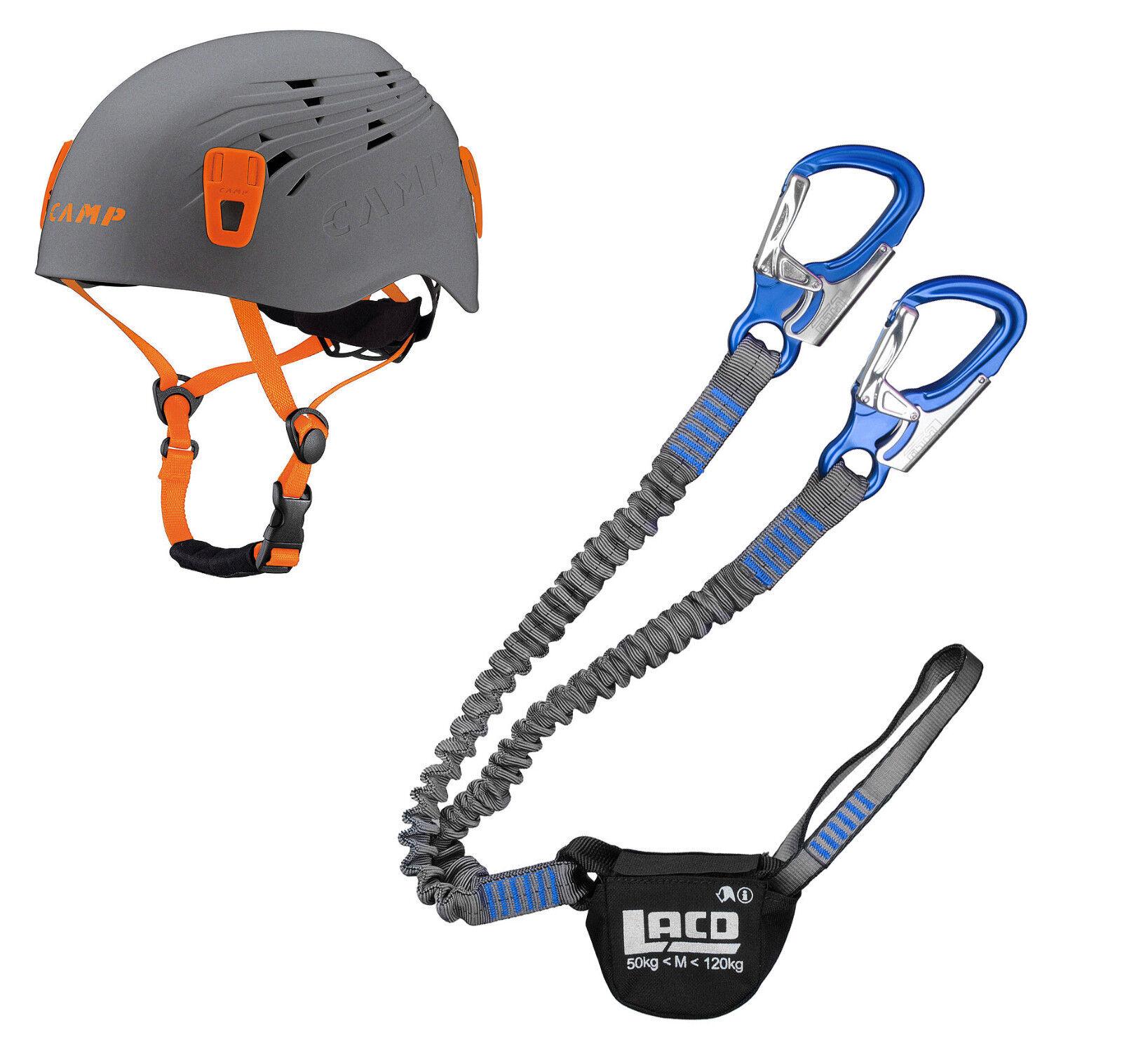 Klettersteigset Klettersteigset Klettersteigset LACd Pro Evo Blau + Kletter-Helm Camp Titan grau c6c7ea