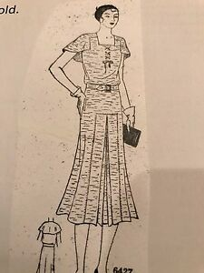 Antique Sewing Pattern #6427-Ladies Dress 1930's