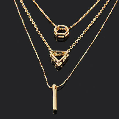 Single /Double Multilayer Long Chain Gold Tone Geometry Pendant Necklace Jewelry