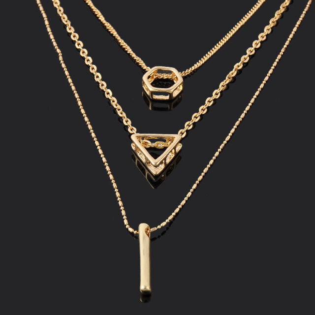 Single /Double Multilayer Long Chain Gold Geometry Dorp Pendant Necklace Jewelry