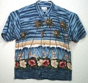 Bill-Blass-Mens-Hawaiian-Hula-Girls-Palm-Trees-Short-Sleeve-Shirt-Size-XL-EUC