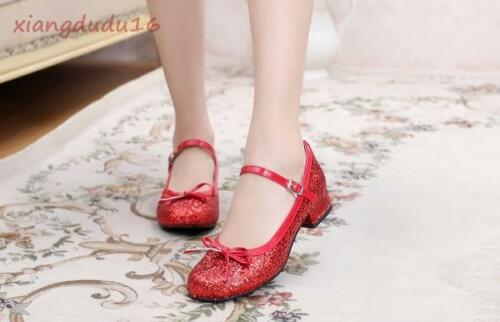Chic Women/'s Lolita Mary Jane Sequins Ankle Strap Casual Bowknot Low Heels Shoes