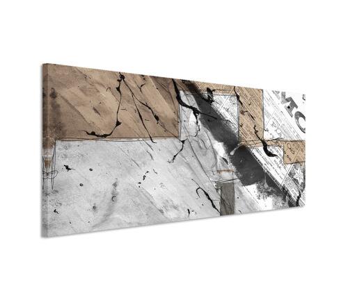 Leinwandbild Panorama braun grau weiß Schrift Paul Sinus Abstrakt/_504/_150x50cm