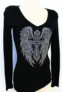 RHINESTONE FLEUR DE LIS CROSS  RIBBED JUNIOR V NECK SHIRT NEW TOP USA