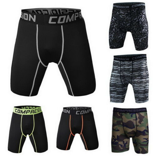 Casual Men/'s Compression Fitness Tight Shorts Sports Training Stretch  Shorts CA
