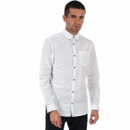 Mens Jack /& Jones Gavin Long Sleeve Shirt In White