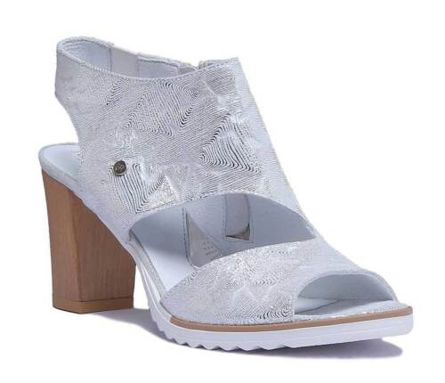 Justin Reece Peep Toe High Heel Textured Leather HIgh Heel Sandal Size UK 3-8