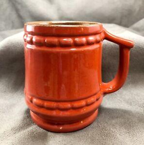 Vintage-Frankoma-Pottery-Barrel-Mug-Cup-C10-4-034-Lazy-Bones-Flame-Red-Orange-Nice