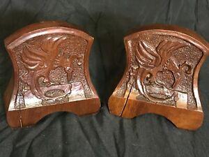 Antique Wooden Hand Carved Griffin Phoenix Bird Bookends