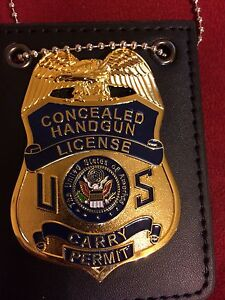 CONCEALED CARRY HANDGUN LICENSE PERMIT BADGE, w/neck chain holder & belt clip.