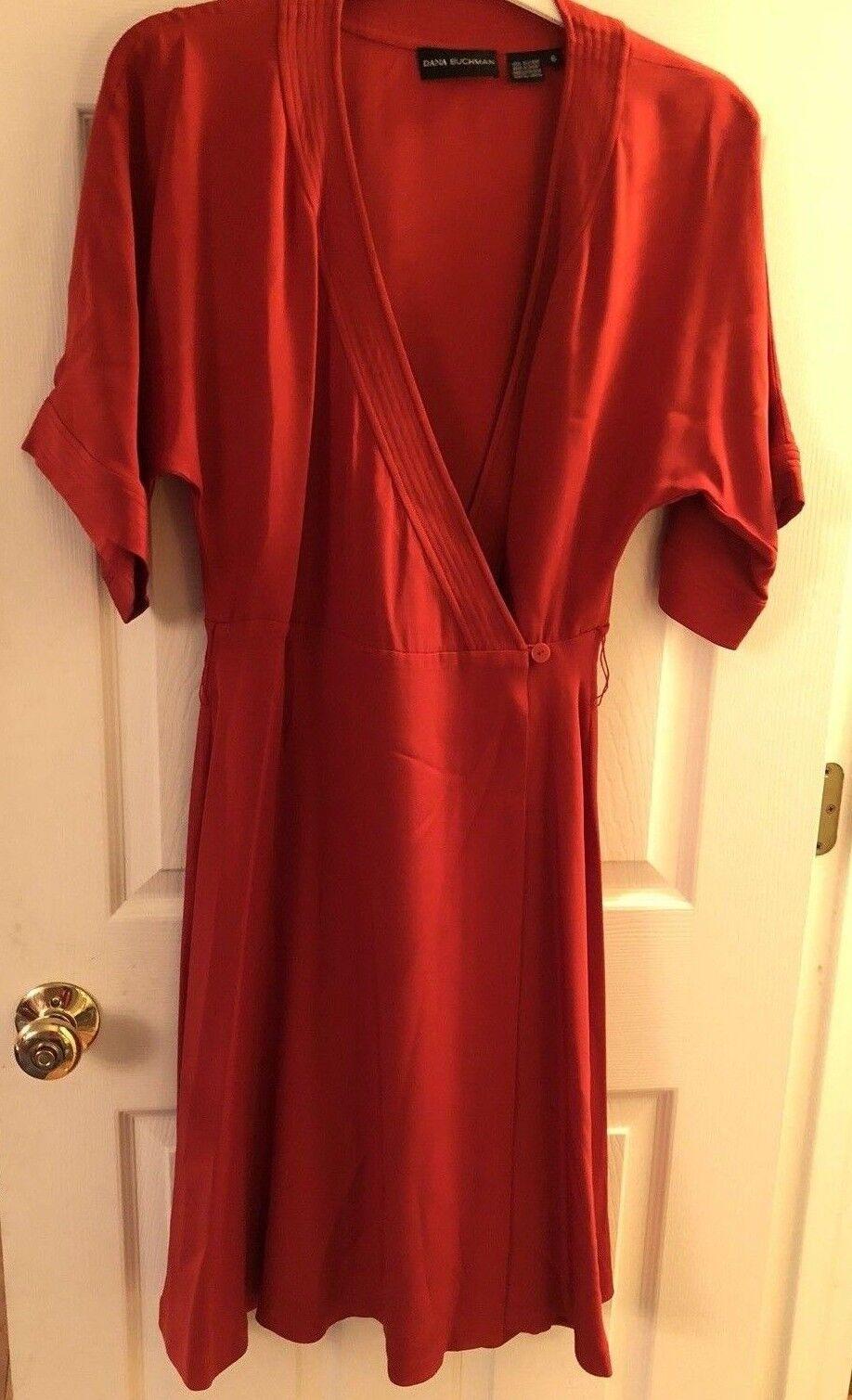 Dana Dana Dana Buchman Women's Dress Size M 6  Knee Length Red Silk Full Wrap 36f260