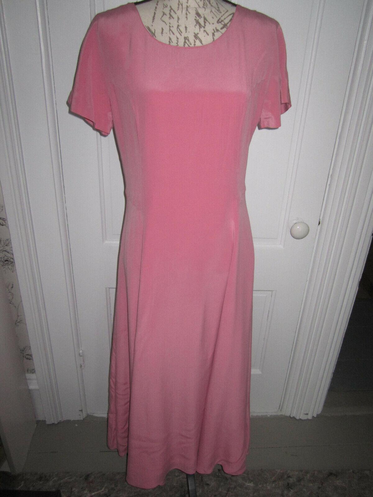 NWT NWT NWT Laura Ashley brand pink silk short sleeved full length dress, ladies' sz 10 a31e92