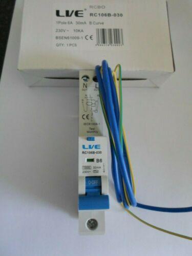 Nuevo Lve B6 6 Amp 30mA RC106B-030 interruptor de un polo RCBO