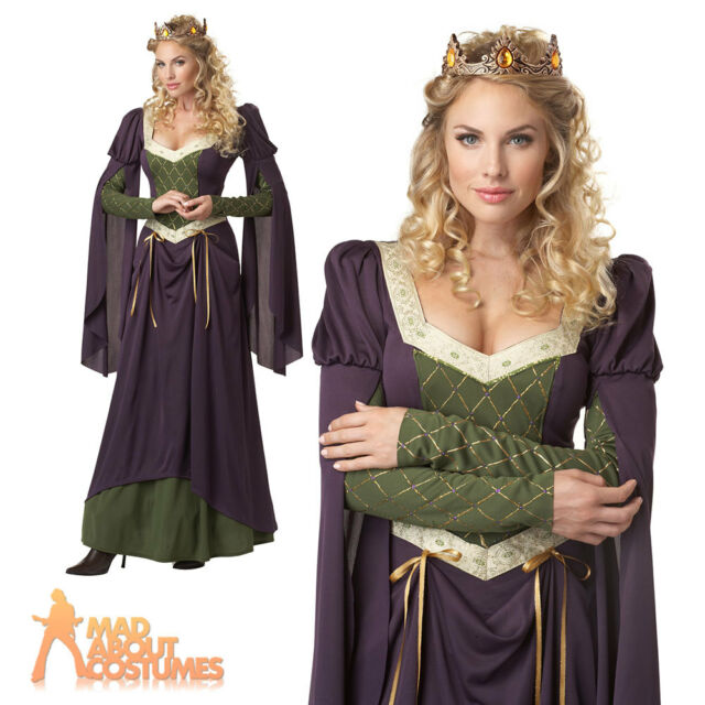 Lady in Waiting Costume Renaissance Queen Ladies Medieval Fancy Dress Outfit New
