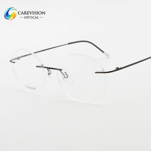 a8fd4a56425 Image is loading Titanium-Rimless-Vintage-Round-Optical-Eyeglasses-Frames -Rx-