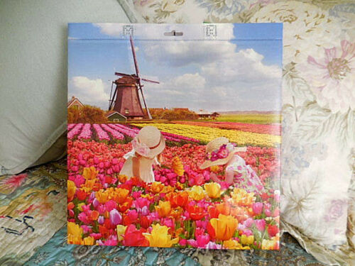 Beautiful colors Girls picking TULIP FARM Holland Reusable Shopping Tote Bag